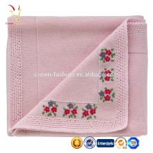 Прекрасные вышитые кашемир шерсть одеяло для младенца Сделано в Китае