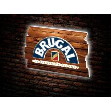 Brugal light display with woodfoil front