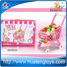 Children supermarket shopping trolley toys,shopping cart toy with vegetable H158675