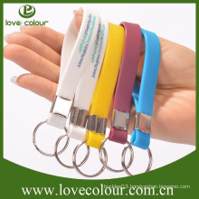 High quality custom promotion cheap silicone wristband keychain