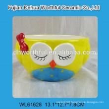Hot sale handpainting owl design ceramic bowl