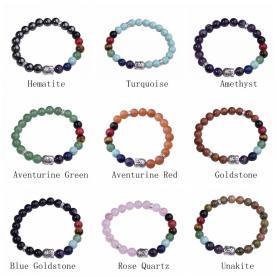 7 Chakra Gemstone Buddhism & Buddha Alloy Crystal Bracelet