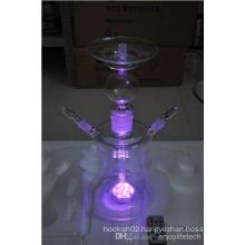 Russia Hookah Erh19 LED Glass Hookah Two Horse Quality Glass Pipe