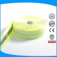 Fluo amarillo de respaldo cinta de plata reflectante de 2 cm