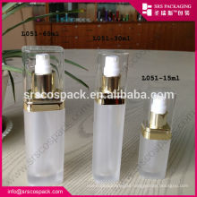 China Transparent Cosmetic Bottle Square Shape Plastic Bottle 15ml 30ml 60ml 120ml Fragrance Bottle