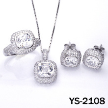 Diamond Jewelry 925 Silver Micro Pave Setting Jewelrys Set.