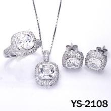 Jóias com diamantes 925 Prata Micro Pave Setting Conjunto de Jóias.