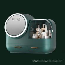 Caja de maquillaje con luz y ventilador giratorios de 360 °