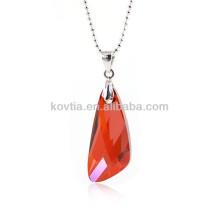 Encanto vermelho austríaco cristal queda pingente de rubi jóias
