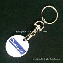 Billige einfache Trolley Coin Schlüsselanhänger für Promotion-Zwecke