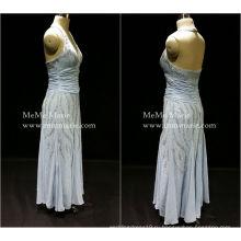 [В наличии] Холтер глубокий V открытой спиной вечернее платье выпускного вечера платье с серебристыми блестками пока-14054