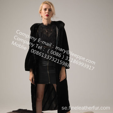 Hooded Kopenhagen Mink Fur Coat Vinter För Lady