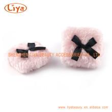 Tamanho personalizado rosa pelúcia Puff cosméticos e logotipo
