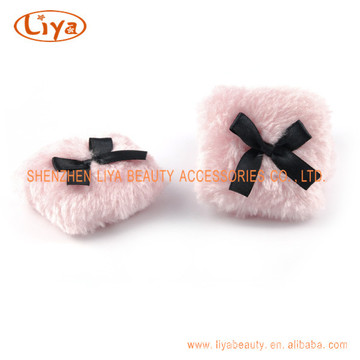 Pink Plush Cosmetic Puff Custom Size and Logo