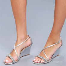 LITTLE SILVER SATIN WEDGE DRESS SANDALS WRAPPED WEDGE HEEL SANDALS