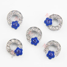 Alloy Blue Crystals Initial Q Flower Charms (JP08)