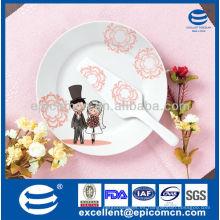 Placa de la torta de la porcelana 2pcs con el servidor para el regalo de boda