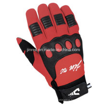 Red Cycling Motorcycle Motorbike Full Finger Gel Padding Glove