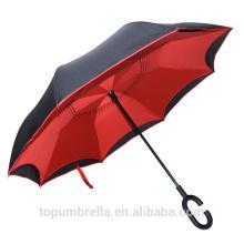 Paraguas invertido invertido de la capa doble de la nueva invención al por mayor 2017 con la manija de C