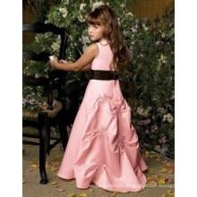 Vestido de niña de flor preciosa de color rosa o vestido de niña de flor formal o los patrones de vestir de niña de flor de bebé o más tamaño vestido de niña de flor