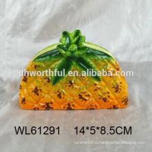 Популярный handpainting ананас дизайн керамический держатель салфетки