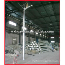 Single arm solar panel light pole