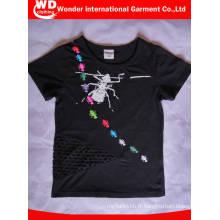 T-shirt à col rond en coton imprimé personnalisé pour l'été des enfants