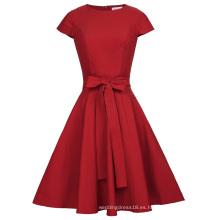 Belle Poque Retro vintage sólido color casquillo manga cuello redondo rojo casual 50s Vintage Rockabilly vestidos BP000361-2