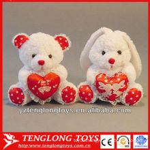 Stuffed couple plush heart rabbit for valentine gifts