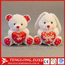 Фаршированные плюшевые сердца кролика для подарков Валентина