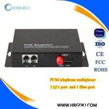 fxs / fxo à fibre optique convertisseur 2 canaux téléphone multiplexeur pcm sur fibre optique