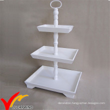 Rectangular White Vintage 3 Tiers French Country Wooden Wedding Cake Stand