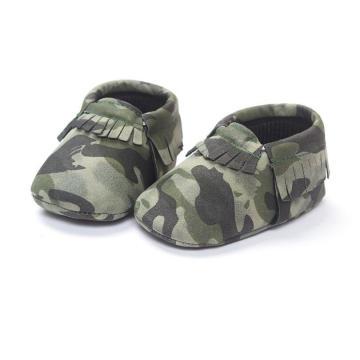 Sapatos de bebê de camuflagem de moda macio solteiros mocassins de criança infantil