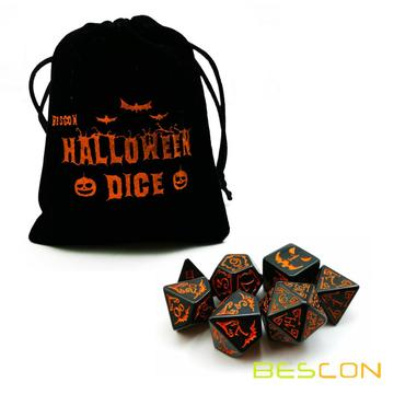 Bescon+Halloween+Polyhedral+Dice+7pcs+Set%2C+Halloween+RPG+Dice+Set+d4+d6+d8+d10+d12+d20+d%25+Set+of+7+Halloween+Dice-DnD+Dice