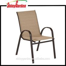 Marco de metal al aire libre apilable Sling comedor silla