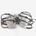 Stylish Jewelry Brown Leather Cotton Cord Custom Expandable Bracelet