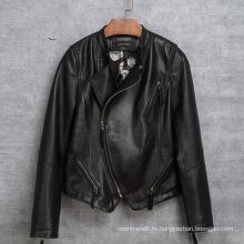Мода мотоцикл одежда реальная овец кожаная Одежда для женщин