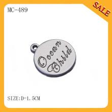 MC489 Etiquetas redondas de joyería de metal, etiquetas personalizadas joyas / colgantes de joyería y encantos