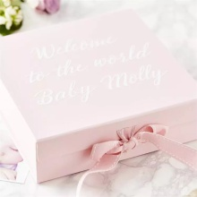 Custom Foldable Baby Clothes Gift Box With Ribbon