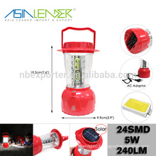 Professional Lighting Products Solar Panel and AC Adaptor, 24LED Solar Camping lantern