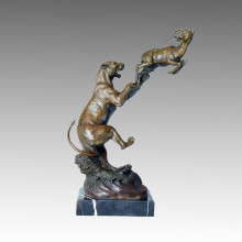 Аниамл Бронзовая скульптура Leopard / Lion Hunt Deocration Латунная статуя Тпал-102