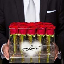 16 отверстий Современная ясная акриловая коробка для упаковки цветов