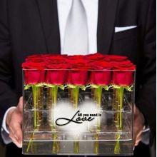 Caixa de empacotamento de flores de acrílico claro de 16 buracos