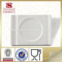 Platos y platos de placa rectangular de porcelana blanca de vajilla india