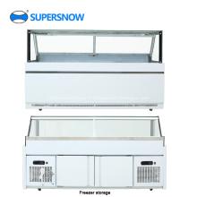 Vitrine commerciale de réfrigérateur d'affichage en verre carré