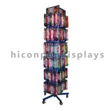 Sturdy Metal Quatro-Caster Pavimentação Custom Rotating Lanyard Chaveiro Chaveiro Chaveira Display Stand