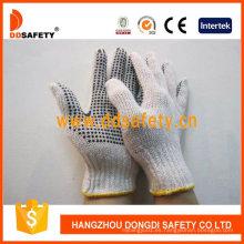 3thread guantes de seguridad de puntos de PVC de hilo de algodón natural de punto Dkp318