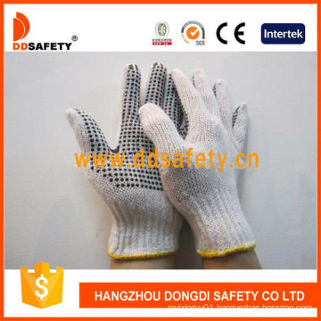 3thread Natural Knit Cotton String PVC Dots Safety Gloves Dkp318