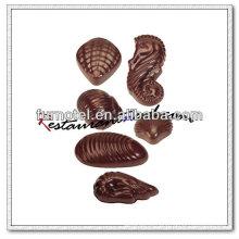 V154 PC Plastic 6 Tipos de forma de casca Molde de chocolate