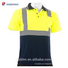 Venta al por mayor amarillo reflexivo alta Vis visibilidad manga corta seguridad trabajo Polo camiseta clase 2 lima Hola Vis t-shirt
